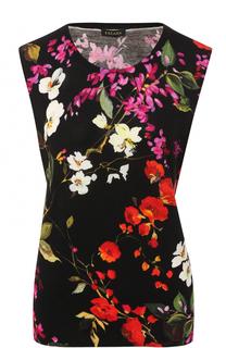 Топ с круглым вырезом и цветочным принтом Escada