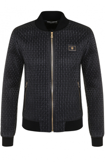 Стеганая куртка на молнии с шерстяными манжетами Dolce & Gabbana