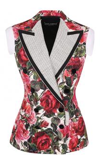 Приталенный двубортный жилет с цветочным принтом Dolce & Gabbana