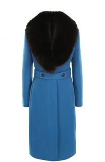 Шерстяное пальто с контрастным воротником из меха лисы Roberto Cavalli