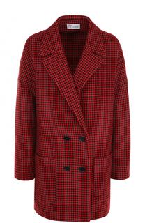 Двубортное пальто с принтом гусиная лапка REDVALENTINO