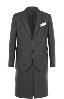 Шерстяное однобортное пальто на двух пуговицах Neil Barrett