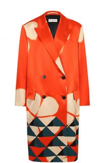 Двубортное пальто прямого кроя с принтом Dries Van Noten