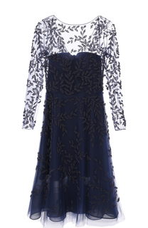 Платье с прозрачным лифом и вышивкой Oscar de la Renta