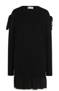 Мини-платье фактурной вязки с бантами REDVALENTINO