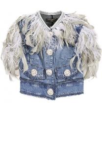 Джинсовый жилет с перьевой отделкой Dolce & Gabbana