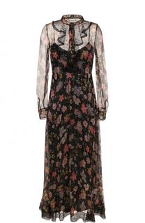 Шелковое платье-миди с цветочным принтом REDVALENTINO