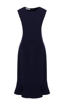 Приталенное платье-миди с оборкой Oscar de la Renta