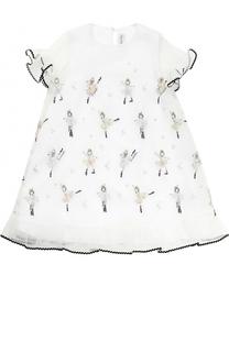 Многослойное мини-платье с вышивкой и оборками Simonetta