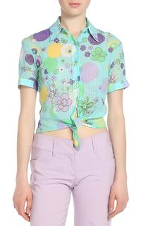 Блузка,желтые,фиолетовые круги Versace