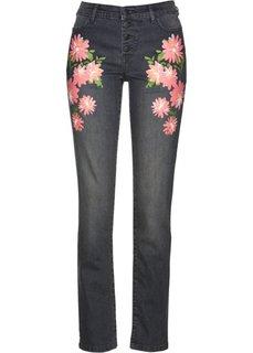 Стрейтчевые джинсы с цветочным принтом (серый деним) Bonprix