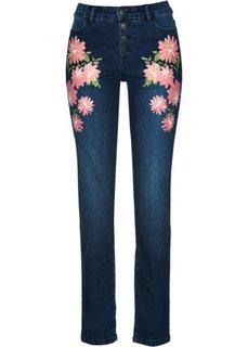 Стрейтчевые джинсы с цветочным принтом (синий «потертый») Bonprix
