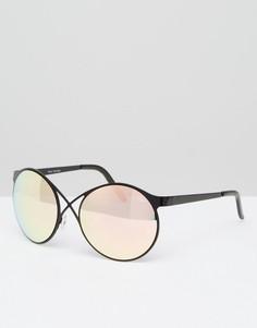 Круглые солнцезащитные очки с зеркальными стеклами Quay Australia - Черный