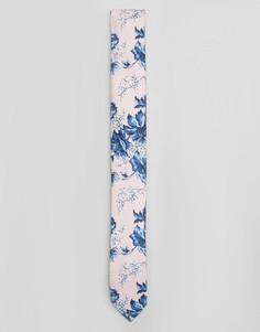 Розовый галстук с цветочным принтом ASOS WEDDING - Розовый