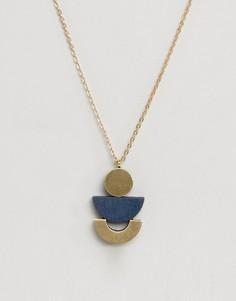 Ожерелье с подвеской Wolf and Moon Luna - Золотой