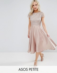 Приталенное платье миди с кружевным кроп-топом металлик ASOS PETITE - Серебряный