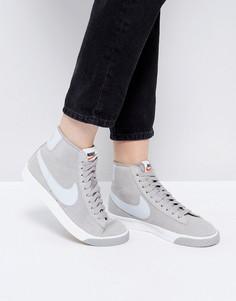 Серые замшевые кроссовки в винтажном стиле Nike Blazer - Кремовый