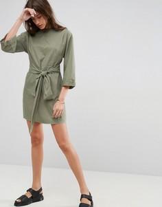 Повседневное платье мини с поясом на талии ASOS - Зеленый