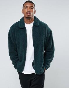 Зеленая свободная куртка Харрингтон из искусственного меха ASOS - Зеленый