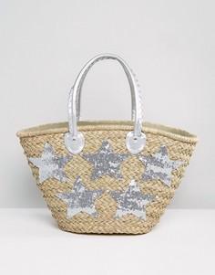Большая пляжная сумка серебристого цвета Pia Rossini - Серебряный