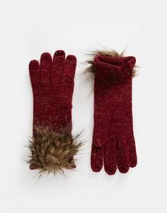 Перчатки с помпоном из искусственного меха Alice Hannah - Красный