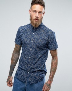 Рубашка с короткими рукавами и принтом Lindbergh - Темно-синий