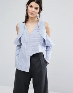 Рубашка в полоску с открытыми плечами и оборками Neon Rose - Серый