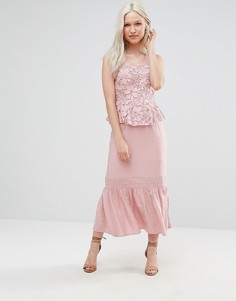 Платье миди с кружевом и баской Foxiedox Primrose - Розовый
