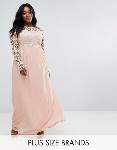 Платье макси с кружевным лифом Club L Plus - Розовый