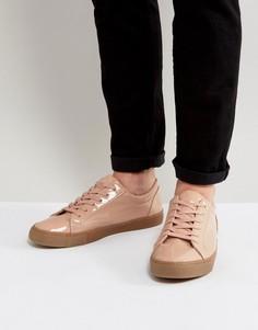 Розовые лакированные кроссовки с резиновой подошвой ASOS - Розовый