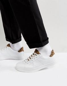 Белые кроссовки с леопардовым принтом ASOS - Белый