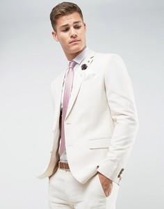 Льняной приталенный пиджак Farah - Светло-серый