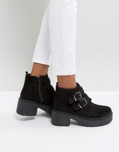 Ботинки на толстой подошве с пряжками Park Lane - Черный