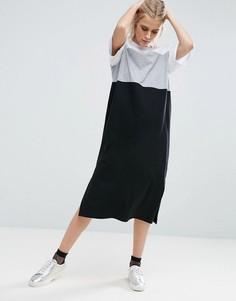 Платье миди в стиле колор блок ASOS - Мульти