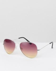 Серебристые солнцезащитные очки-авиаторы с фиолетовыми стеклами ASOS - Фиолетовый