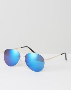 Золотистые солнцезащитные очки-авиаторы с синими зеркальными стеклами ASOS - Золотой