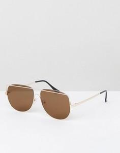 Золотистые солнцезащитные очки-авиаторы с плоскими стеклами ASOS - Золотой