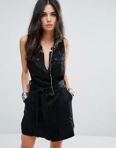 Платье в стиле милитари Free People Desert Daylight Lux - Черный
