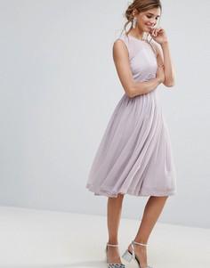 Платье миди с присборенной отделкой ASOS PREMIUM - Фиолетовый