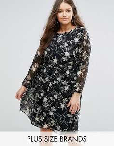 Платье миди с цветочным принтом Koko Plus - Черный