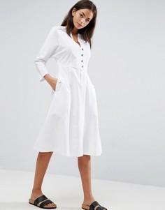 Платье миди с кнопками ASOS - Белый