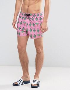 Короткие шорты для плавания с принтом пальмовых деревьев и кактусов ASOS - Розовый