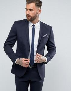 Узкий пиджак с добавлением шерсти и эластичной подкладкой Selected Homme - Темно-синий