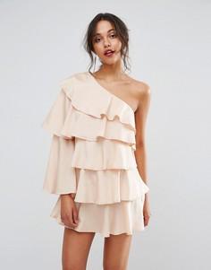 Платье мини на одно плечо с оборками Boohoo - Бежевый