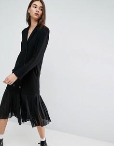 Платье-пиджак с плиссированным краем из шифрона ASOS WHITE - Черный
