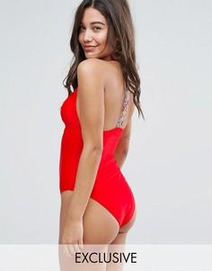 Слитный купальник с вышивкой South Beach - Оранжевый
