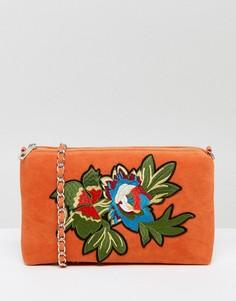 Бархатная сумка через плечо с вышивкой Glamorous - Оранжевый