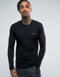Черный лонгслив с круглым вырезом Armani Jeans - Черный