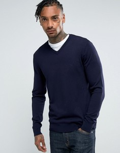 Темно-синий джемпер с V-образным вырезом и логотипом Armani Jeans - Темно-синий