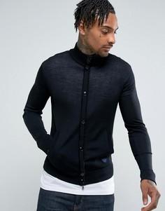 Черный приталенный джемпер на молнии и пуговицах с логотипом Armani Jeans - Черный